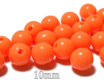 10mm Opaque acrylic plastic beads in Tangerine 20 beads