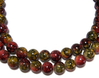 6mm Multicolor Marbled  Round Glass Beads 70 beads