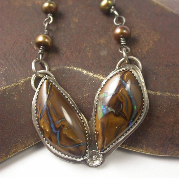 Koroit Boulder Opal Sterling Silver Necklace