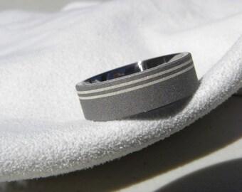 Titanium Double Silver Pinstripe Inlay Ring Wedding Band Sandblasted