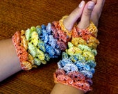 Rainbow Crocodile Stitch Fingerless Gloves Size L-XL
