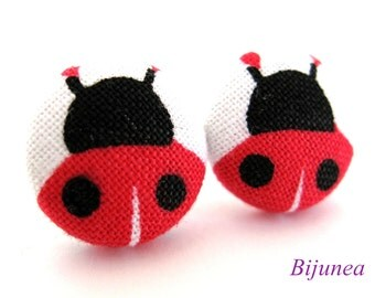 Red ladybug earrings - Red ladybug earrings - Ladybug stud earrings - Ladybug studs - Ladybug posts - Ladybug post earrings sf925