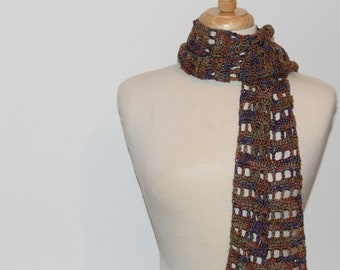 Crochet Scarf Openwork Design Sage Cinnamon Plum Wool Blend Yarn