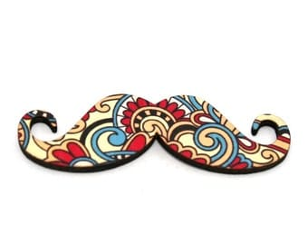 Moustache Brooch, Tribal Pin, Movember Facial Hair Accessory