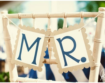 Mr. and Mrs. Wedding Signs - Wedding Chair Signs - Mr and Mrs Photo Props - Custom Color Combination