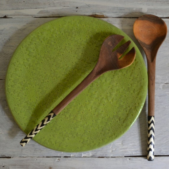 Lime Dinner Plate - large plate - Wobbly Plates Series
