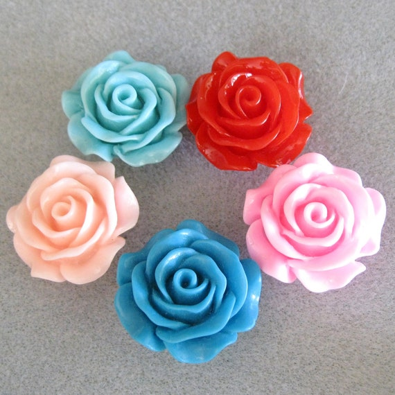 Lucite Rose Flower Bead With Hole 28mm Choose Your Color 918