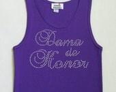 Dama de Honor (Bridesmaid) Rhinestone Tank Top T-shirt