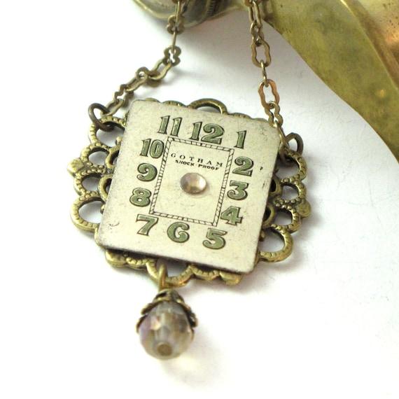 Filigree Steampunk OOAK Necklace Vintage Watch Dial Crystal Drop Exclusive Design By Mystic Pieces