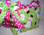 Christmas Fabric Organizer Bin Storage Container Preppy Pink and Green Snowmen