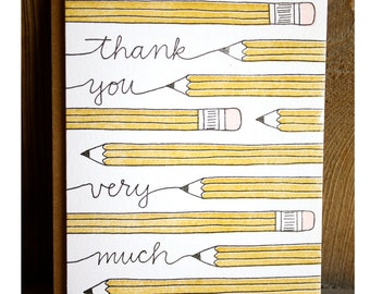 Thank You Pencil Letterpress Card