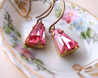 Sweet Rose vintage pink rhinestone earrings Valentine