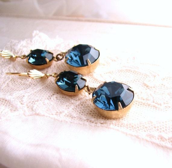 Midnight earrings vintage  montana sapphire blue rhinestones