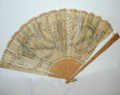 Antique Sequined Cutwork Silk & Carved Wood Hand Fan