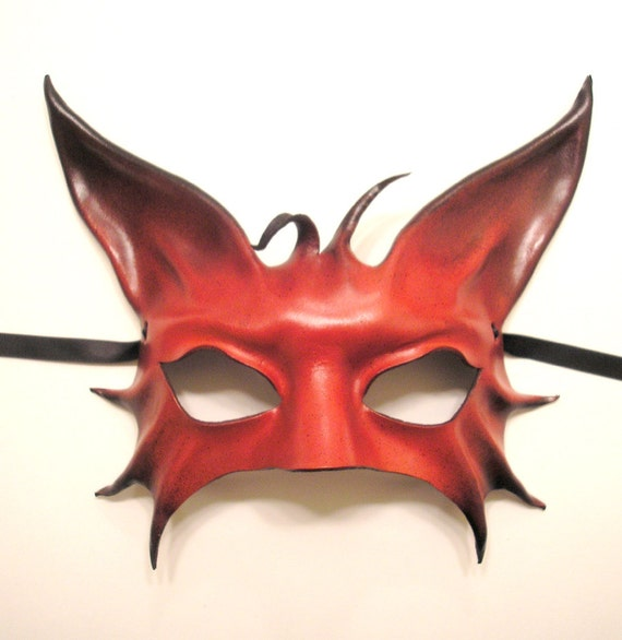 Cat Leather Mask in Red with Black shading READY TO SHIP