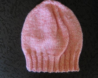 hand knit lightweight baby hat -  pink tweed acrylic - size 6 - 12 months