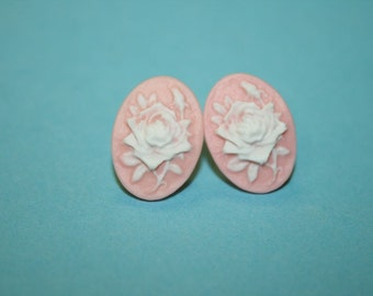 Small Pink and White Rose Cameo Earrings