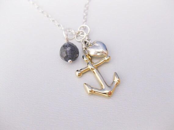 RESERVED FOR IsabelleNigel: The Sailor's Daughter - Iolite, Gold Vermeil, and Sterling Silver necklace