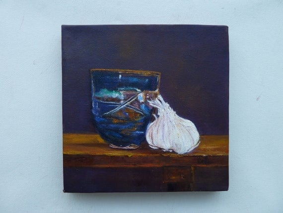 Tea Bowl with Garlic - garlic painting art decor