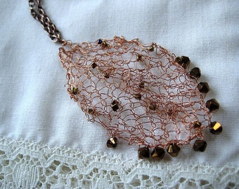 Lacy Wire knit  copper leaf pendant necklace with swarovski crystals - Free shipping now