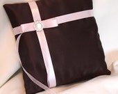 Chocolate Brown & Pale Pink Satin Ring Bearer Pillow