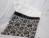 Wedding Card Bag - Ivory Satin & Black/Cream Damask Bridal Bag