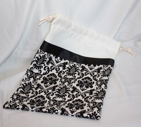 Wedding Card Bag - Ivory Satin & Black/Cream Damask Bridal Bag