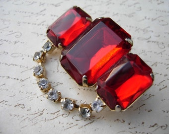 Red Brooch with rhinestones