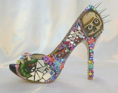 Too Too Tattoo .. custom design ..spiky high heels ..  Party shoes with spikes and broken glass ... FREE Shipping within the USA