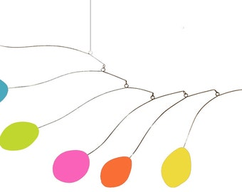 BRIGHT CHEERFUL Midcentury Art Mobile - Kinetic Sculpture for Your Home & Office
