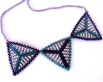 Triangle Necklace, Teal and Purple Triangle Banner, Beadwoven Jewelry, Geometric Necklace, Multi Color Beadwork Jewelry