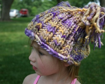 Purple and Gold Jester Hat Handspun yarn-fits 2T to 6 - preeteen - adult -sport team colors