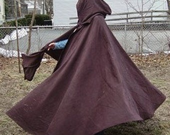 Custom Color Cotton Twill Full Circle Cloak SCA, LARP, Pagan, Renaissance