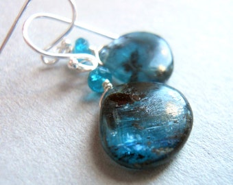 Starry Night Kyanite and Apatite earrings
