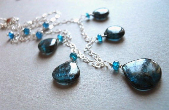 Starry Night Kyanite and Apatite necklace