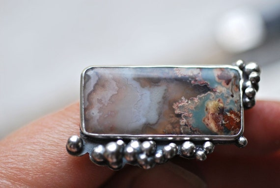 Prudent Man Agate Caviar Ring. Sterling Egglets. Self Cabbed Stone. Asymmetry. Abundance.