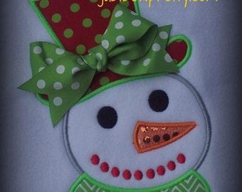 Snowman with Tophat Applique Design