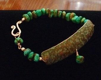 Cuff Bracelet, Hand Forged Copper Cuff Bracelet, Turquoise Bracelet, Hammered Copper, Hammered Copper Cuff bracelet  by LindaGeez