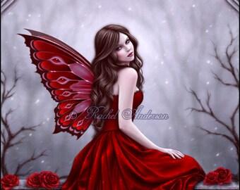 Winter Rose Fairy Art Print