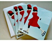 Holiday Christmas retro skating girl 4 x 6 inches cards set of 6