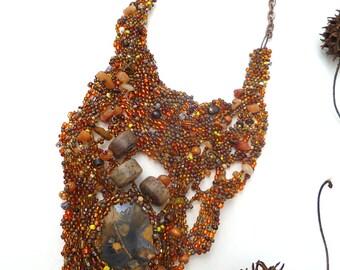 Ammonite IV necklace, free form peyote stitch unique lariat, fossil cabochon, beadwork, brown beads, bohemian, statement necklace, Coachella