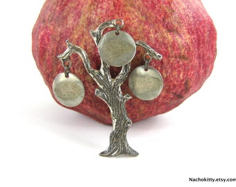 1940s Family Tree Brooch Vintage Sterling Silver, Customizable