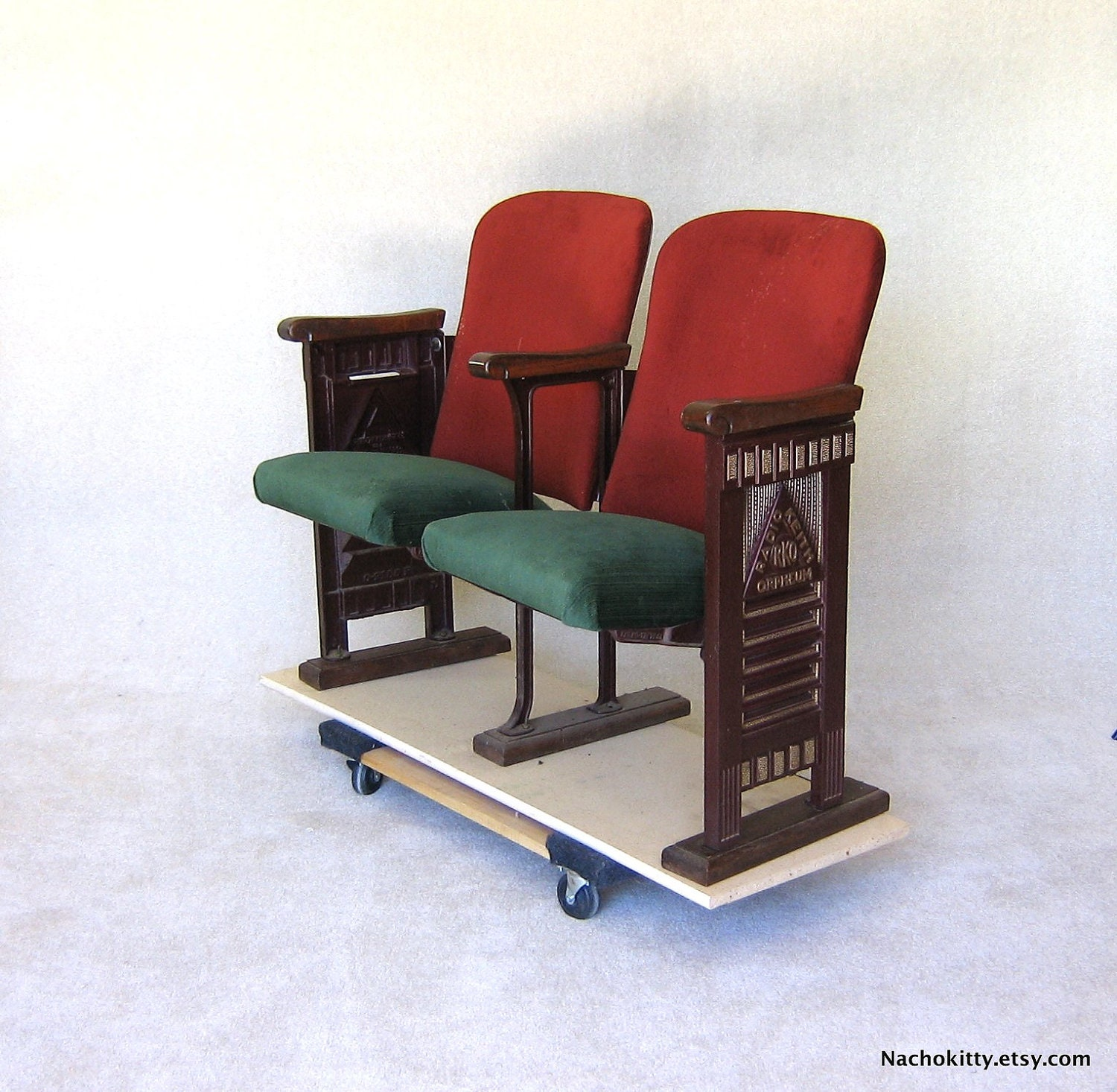 1920s Movie Theater Chairs RKO Silk Velvet & Cast by
