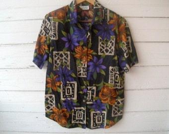 Vintage 80s Floral Blouse