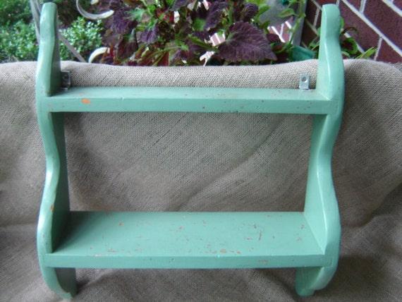 Vintage Wooden Shelf Chippy Jade Green Farmhouse Chic