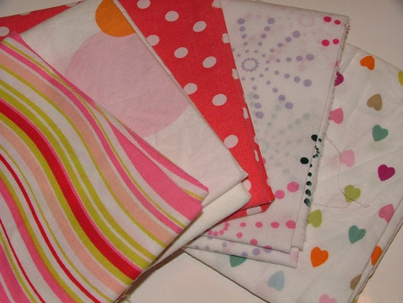 Play Date - Fat Quarter Bundle - reclaimed sheets fabric - 5-pack