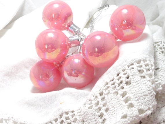 Christmas Tree Ornaments-6 Vintage pink mercury glass mini balls-retro 50s Corsage floral picks for Shabby Victorian cottage wreath or craft
