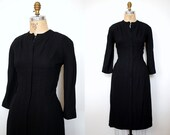 50s black dress / 1950s black wool dress / 50s wool dress / black crepe dress / Cupidus dress