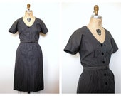 50s cotton dress / Vintage 50s Grey Cotton Pinstripe Day Dress