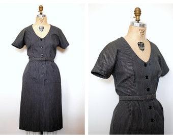 50s cotton dress / Vintage 50s Grey Cotton Pinstripe Day Dress